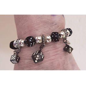 Jewelry - Black Dice Bracelet * Dice Charm Bracelet